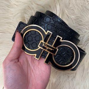 🌺FERRAGAMO SALVATORE LOGO black and goldtone belt